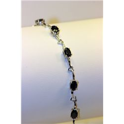 Lady's Fancy Silver Black Diamond Bracelet
