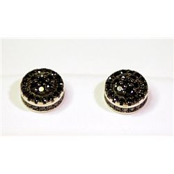 Lady's Antique Sterling Silver Round Shape Black Diamond Earrings
