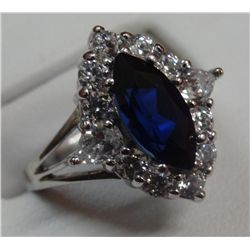 Womens Silver Diamond and Blue Sapphire Ring