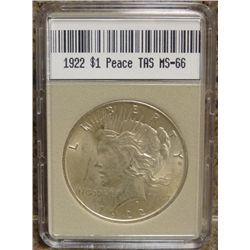 1922 Peace Dollar TAS MS-66 W/Appraisal