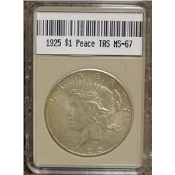1925 Peace Dollar TAS MS-67  W/Appraisal