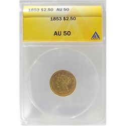 1853 Liberty Head $2.5 dollar US Gold Coin AU-50