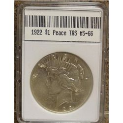 1921 Peace Dollar TAS MS-66 W/Appraisal