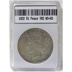 1922 Peace Silver Dollar TAS MS-65 W/Appraisal