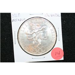 1968 Mexico Olympic 25 Pesos Foreign Coin Ley 0.720