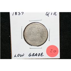 1857 Seated Liberty Quarter, Low Grade