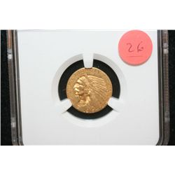 1915 Indian Chief $2 1/2 Gold Coin, NGC Graded AU58