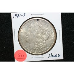 1921-S Silver Morgan $1, Holed