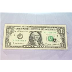 1999 US Federal Reserve Note $1, Cleveland OH Reserve, #D77763979B  Lucky 7 Note