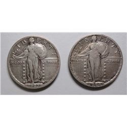 1923 and 1924 Standing Liberty quarter  VF