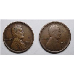 (2)  1911S  Lincoln pennys  Fine and a VF