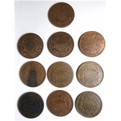 (10)  2 cent coins Good or better no junk