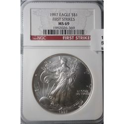 1997 silver Eagle  NGC First Strikes  NGC69