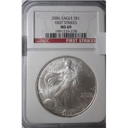2006 silver Eagle  NGC First Strikes  NGC69