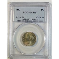 1892 LIBERTY NICKEL PCGS MS 65 GEM!