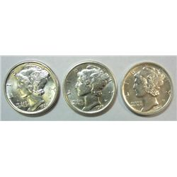 3 HIGH GRADE BU MERCURY DIMES ALL FULL BANDS