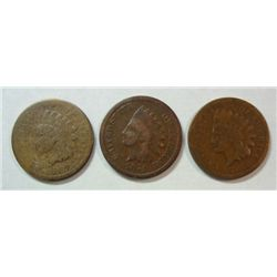3 SCARCE DATE INDIAN CENTS 1867, 1868, 1874 ALL G-VG