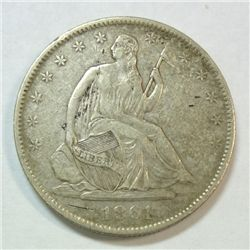 1861-O SEATED HALF DOLLAR XF