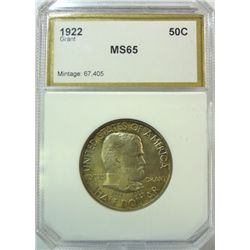 1922 GRANT COMMEMORATIVE HALF PCI MS-65