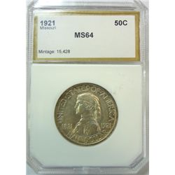 1921 MISSOURI COMMEMORATIVE HALF PCI MS-64