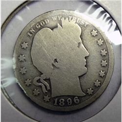 1896-O BARBER QUARTER WEAK, GOOD