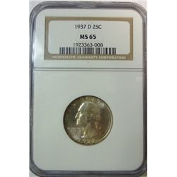 1937-D WASHINGTON QUARTER NGC MS65 GEM