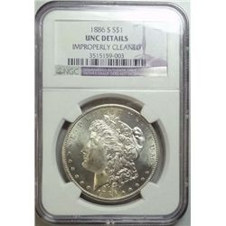 1886-S MORGAN DOLLAR NGC UNC