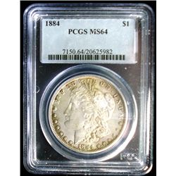 1884 MORGAN SILVER DOLLAR, PCGS MS64