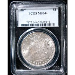 1887 MORGAN SILVER DOLLAR, PCGS MS64+