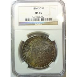 1890-S MORGAN DOLLAR NGC MS65 GEM BEAUTIFUL COLOR!