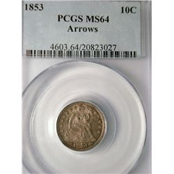 1853 ARROWS SEATED DIME PCGS MS64 SPECTACULAR COLORS!