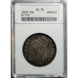 1829 Bust half O-115 ANACS 55  coin is a 58