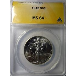 1943 WALKING LIBERTY HALF DOLLAR ANACS MS64