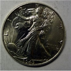 1945 WALKING LIBERTY HALF DOLLAR GEM BU