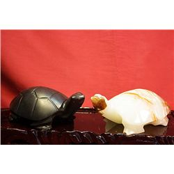 Original Hand Carved Marble  Turtles  by G. Huerta