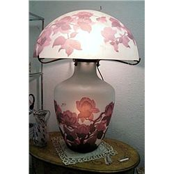 Galle Signed Floral Lamp