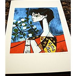 Picasso Signed and Numbered Lithograph - Portrait of Jacqueline Roque with Flower