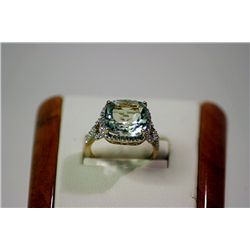Lady's Fancy 10 kt Yellow Gold Aquamarine/Diamond Ring
