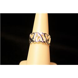 Unisex Fancy Sterling Silver  Hearts Band  Design Tiffany Ring