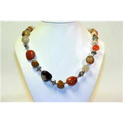 Unisex Extremely Fancy  All Natural Stones   Multi Stone Necklace