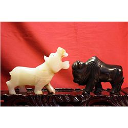 Original Hand Carved Marble  Buffalo & Hippo  by G. Huerta