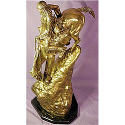 F. Remington Monumental Limited Edition 24K Gold Layered Bronze Sculpture  -Mountain Man