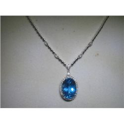 15.62CT Blue Topaz and .43 CT Diamonds 14K WG Necklace