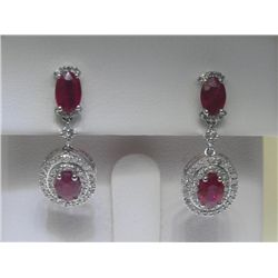 2.58 CT Ruby &amp; .47 CT Diamonds 14K White Gold Earrings