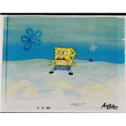 Original SpongeBob Animation Cel & Background Sneeze