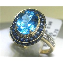 3.05CT Bl Topaz .96CT Bl Sapphires .06 CT Diamond Ring