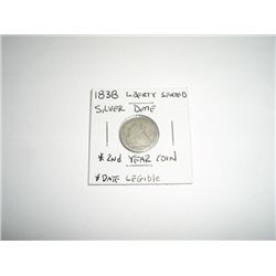1838 Liberty Seated SILVER Dime *EXTREMELY RARE DATE LEGIBLE - PLEASE LOOK AT PICTURE TO DETERMINE G