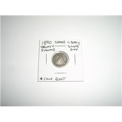 1890 Liberty Seated SILVER Dime *RARE VARIETY 4 RESUMED - PLEASE LOOK AT PICTURE TO DETERMINE GRADE
