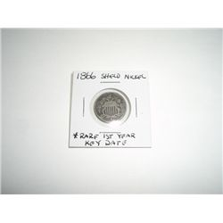 1866 Shield Nickel Nickel RARE KEY DATE 1st YEAR COIN *PLEASE LOOK AT PICTURE TO DETERMINE GRADE*!!