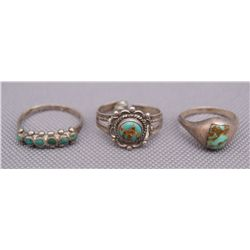 THREE NAVAJO RINGS   (FREE SHIPPING THIS AUCTION ONLY!!!)